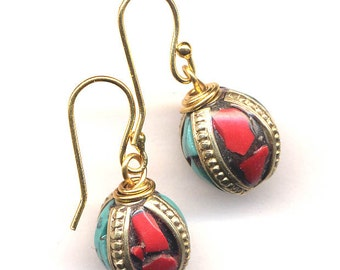 Nepal Earrings, Turquoise and Coral Earrings, Tibet Beads on18K Gold Filled Wire, Ethnic Earrings, Handmade Nepal Jewelry by AnnaArt72