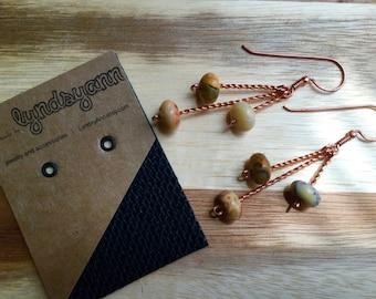 Twisted Copper Agate Earrings