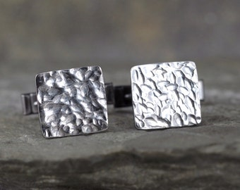 Sterling Silver Cufflinks - Rustic Jewellery for Men - Formal Wear Accessory - Grooms Gift - Wedding Accessories - Square Shape Cufflinks
