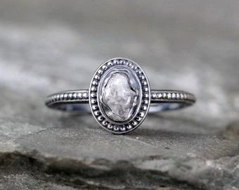 Uncut Diamond Ring - Raw Rough Diamond Engagement Rings - Sterling Silver Bezel Set - Vintage Style Wedding Ring - April Birthstone Ring