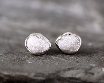 Raw Diamond Earrings - Rough Uncut Diamond - Sterling Silver Stud Earring - Rustic Round Gemstone - April Birthstone - Conflict Free Diamond