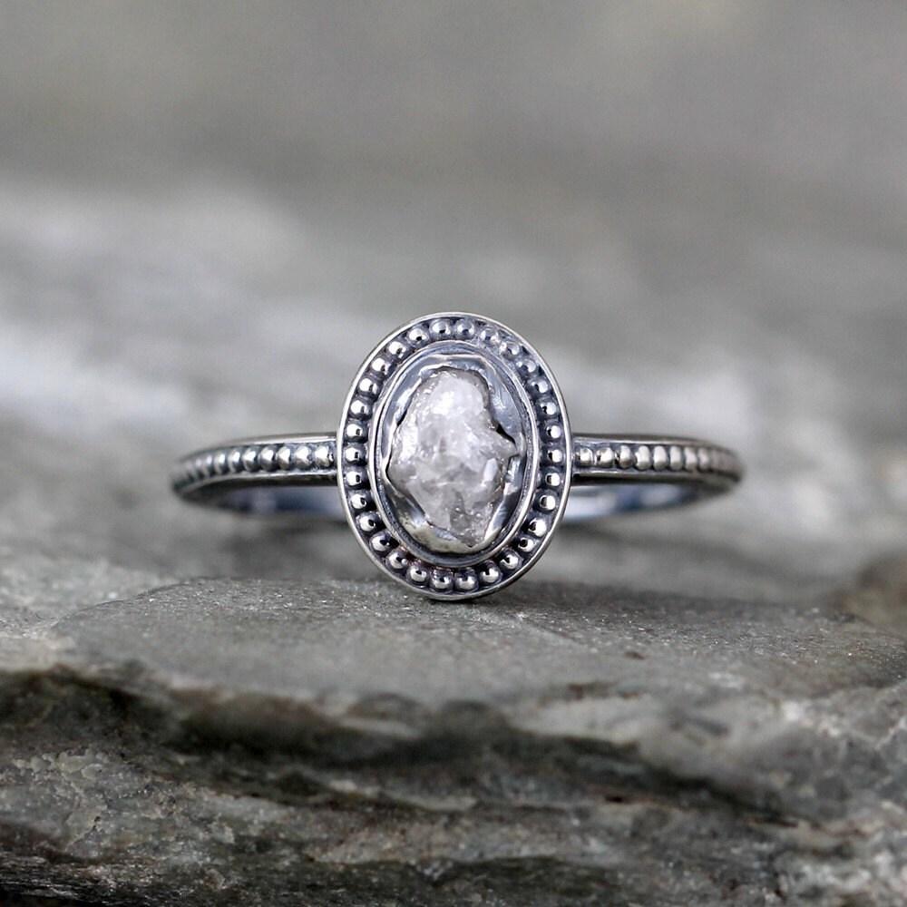 Rough Diamond Rings: Uncut Diamond Ring Raw Rough Diamond Engagement Rings