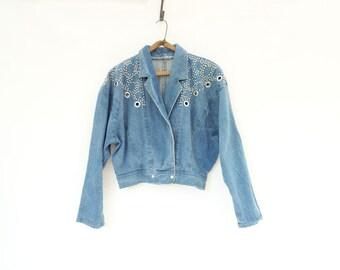 Vintage Jean Jacket 80s Studded Denim 1980s Cropped Jacket 80s Bomber Jacket Grommeted Denim 80s Denim Jacket Vintage Denim Jacket m