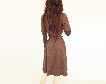 Brown Sweater Dress, Vintage 70s Dress, Boho Wool Knit Dress, Brown Wool Dress, 1970s Sweater Dress, Brown Wool Jumper, Wool Blend Dress, s