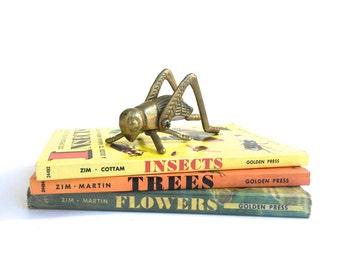 Vintage Brass Grasshopper figurine~ Hollywood Regency~Chirping bug sculpture