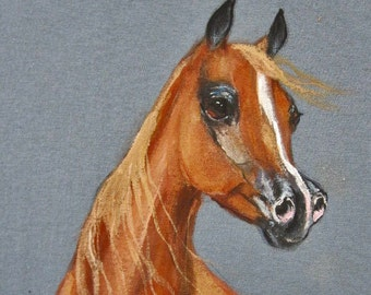 Arabian horse art tee shirt hand painted chestnut #107