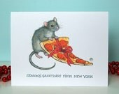 Funny Holiday Card - NYC Critters - Pizza Rat & Gift