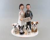 Wedding Cake Topper - Custom Couple with Dogs