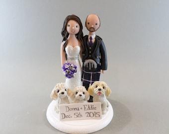 Wedding Cake Topper - Custom Scottish Bride & Groom