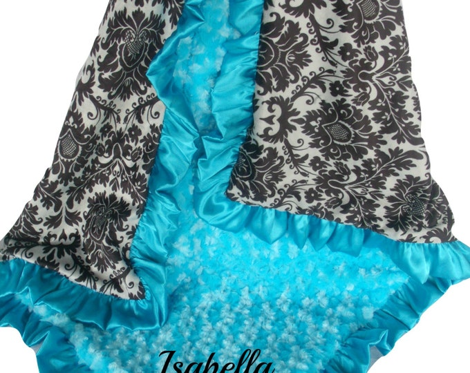 Black and Gray Damask Minky Baby Blanket with Aqua Turquoise Rose Swirl and Satin Ruffle Trim, available in three sizesCan Be Personalized