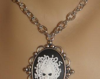 Mythological Medusa Cameo Pendant. Goth Medusa Cameo. White Medusa on a Black Backgound. Greek, Mythological, Medusa, Gorgon Pendant.