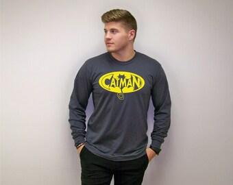 Cat shirt, gifts for cat lovers, mens funny tshirt, Cat Man, super hero tee, pet dad, mens tshirt, Fathers Day gift, funny tshirts, dad gift