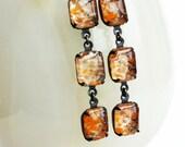 Orange Lampwork Earrings Vintage Lampwork Floating Glass Stone Dangles Tangerine Goldstone