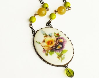 Floral Pendant Necklace Large Vintage Cameo Colorful Beaded Flower Necklace Green Purple Victorian Floral Romantic Flower Anniversary Gift