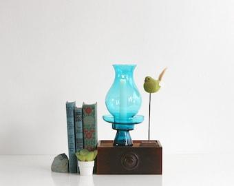 Mid Century Modern Morgantown Glass Hurricane Lamp - Peacock Blue