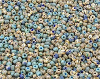 2/0 Matte Aged Picasso Opaque Turquoise & Striped Czech Glass Seed Bead Mix 20 Grams (AS52)