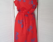 Dress, Sundress, Sleeveless, Red and Blue from Malinini Hawaii - Size M-L