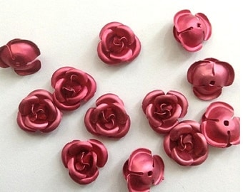 Vintage Red Rose Aluminum Cabochon frosted red rose flower cabs - 34 pieces