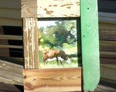 Oil Painting of a Cow - Framed in Barn Wood - Green and Brown - Oil Painting On Wood - 17 x 22