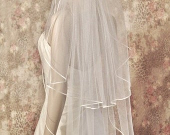 """Satin Trim Wedding Veil, 54"""" Wide Made With Extra Soft Tulle Satin Ribbon Edge WELL MADE"""