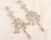 Vintage Silvertone Openwork Cubic Zirconia Bridal Chandelier Post Earrings