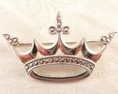 Vintage B-K Sterling and Marcasite King's Crown Brooch
