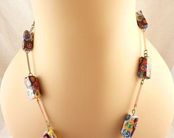 Vintage Italian Millefiori Long Beaded Necklace