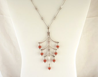 Vintage Handmade in Israeli Sterling and Carnelian Bead Long Dangling Link Necklace