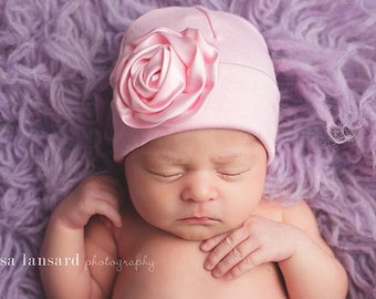 Cotton Stretch Baby Hat, Satin Flower, Designed to fit, Newborn Hat, Rounded top hat, Infant Beanie, Flower Hat, Hospital Hat, Photo prop