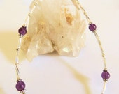 Amethyst Anklet, Gemstone Jewelry, Handcrafted Jewelry, Purple and Silver, Ankle Bracelet, Summer Jewelry