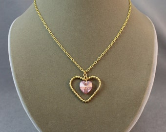 Wire-Wrap & Crystal Heart Necklace