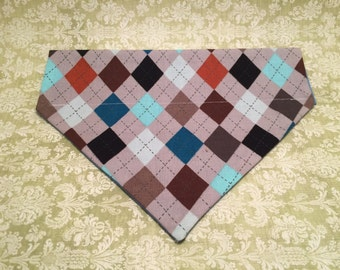 Pet Accessory - Fancy Argyle - Over-the-Collar - Custom - Bandana, Bow Tie, Neck Tie, Flower