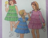 1978 Girls Ruffled Dress Pattern Simplicity 8429 Childs Dress Size 5 Sleeve varations Sleeveless,Short, or Long Sleeves