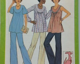 Vintage 1970s Maternity Top and Pants Pattern Misses Size 12 , and baby stuffed Kangaroo toy Pattern Simplicity 8197 Misses Size 12 (c) 1977