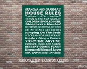 Grandparent's House Rules Sign, Grandparent's Rules Art, Custom Colors, Personalized, Gifts For Grandparents, Grandparent Gifts,Download Art