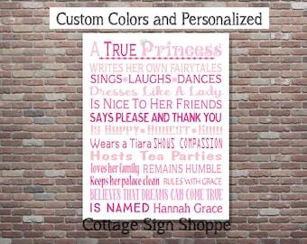 A True Princess Sign, Princess Signs, Princessl Wall Art, Little Girls Wall Art, DIGITAL, YOU PRINT, Princess Nursery Decor, Girls Art