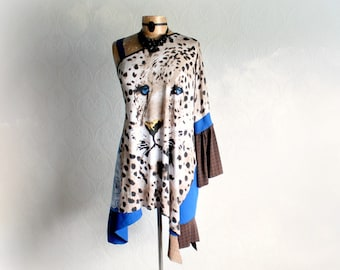 Leopard Print Bohemian Tunic Off Shoulder One Sleeve Women's Draped Top Boho Chic Sexy Top Upcycled Clothing Long Hippie Top L XL 'MATILDA'