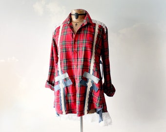 Lumberjack Plaid Red Flannel Shirt Women Boho Chic Casual Clothes Shabby Rustic Top Recycle Denim Jeans Tartan Top Unique Clothing M 'ELLA'