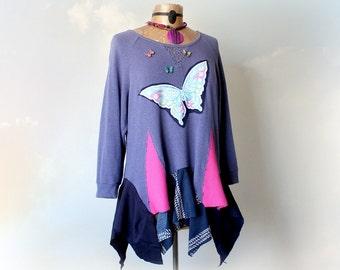Purple Butterfly Shirt Layered Boho Top Lace Sweatshirt Eco Clothing Applique Tunic Boho Chic Gypsy Coachella Loose Fit Shirt L XL 'SONIA'