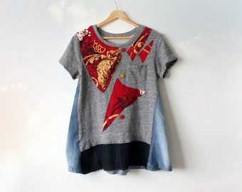 Rustic Tunic Top Patchwork T-Shirt Recycled Clothing Women's Denim Shirt Boho Chic Clothes Funky Festival Wear Artsy Smock Top S M 'SHANNON'