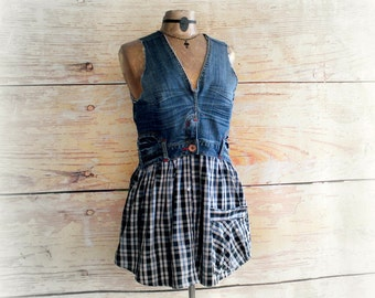 Unique Denim Tunic Artsy Clothing Boho Women's Top Blue Plaid Recycled Clothes Jean Shirt Country Shabby Funky Tank Top Large 'JANELLA'