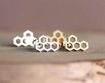 Honeycomb Hexagonal Shaped Gold or Silver toned earrings,Gift for her,Gift for wife, Gift for daughter, Honeycomb,Handcrafted jewelry by MKY