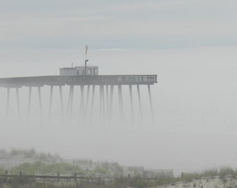 Foggy Beach Photography, Ocean City Fishing Pier, Coastal Wall Art,Grey Beach Print,Beach Art Print,Nature Photography,Ocean Print,Ocean Art