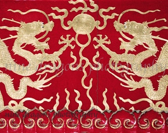Gold Dragons Art Print, Red & Gold Asian Decor, Red Boho Art, Red Chinoiserie Art, Boho Wall Decor, Asian Art, Red Art, Asian Dragons Print