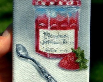 Sweet Summer Jam....Mini Painting in OIL by LARA ACEO 3x4 Strawberry Spoon Still Life