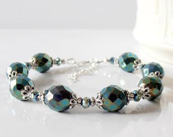Beaded Bracelet, Sparkly Green Bracelet,   Holiday Wedding Jewelry, Pine Green, Metallic Green Beaded Bridesmaid Jewelry, Woodland Brides
