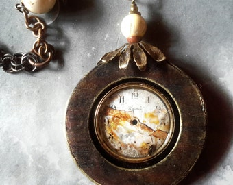 Clock face pendant Perfection Broken statement necklace upcycled vintage long free shipping