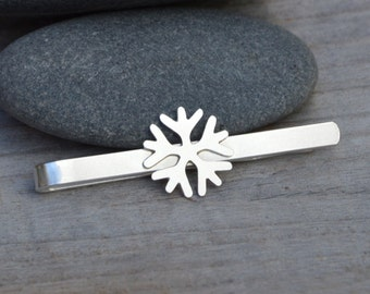 Snowflake Tie Clip In Solid Sterling Silver, Wedding Tie Clip, Personlized Tie Clip, Handmade Gift For Man