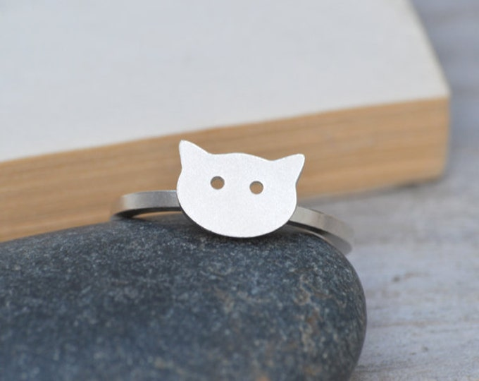 Kitty Cat Ring, Kitten Ring In Sterling Silver, Handmade In The UK, Made To Order