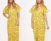 Vintage 70s EMBROIDERED Mexican Dress Yellow Flower & BIRD Caftan Ethnic Dress OAXACAN Dress Huipil Dress